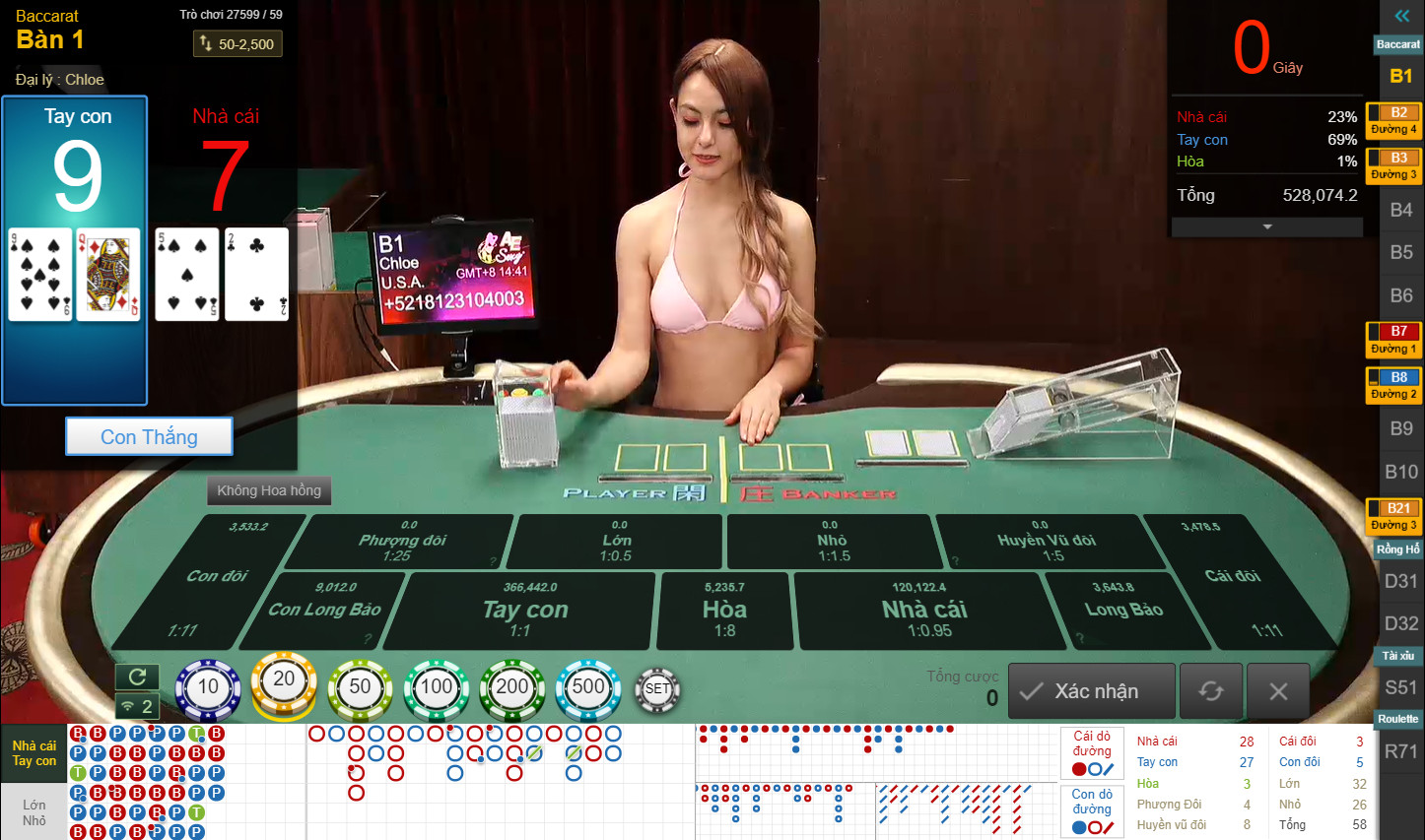 Giao diện trong game Sexy Baccarat online tại 7ball