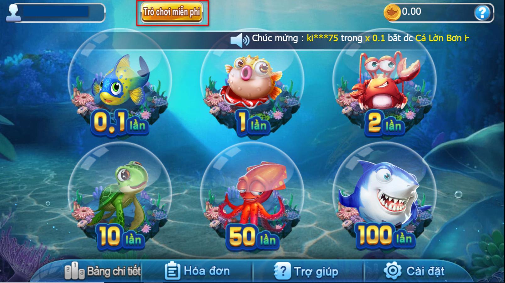 Chơi thử Bắn cá miễn phí tại 7ballBET