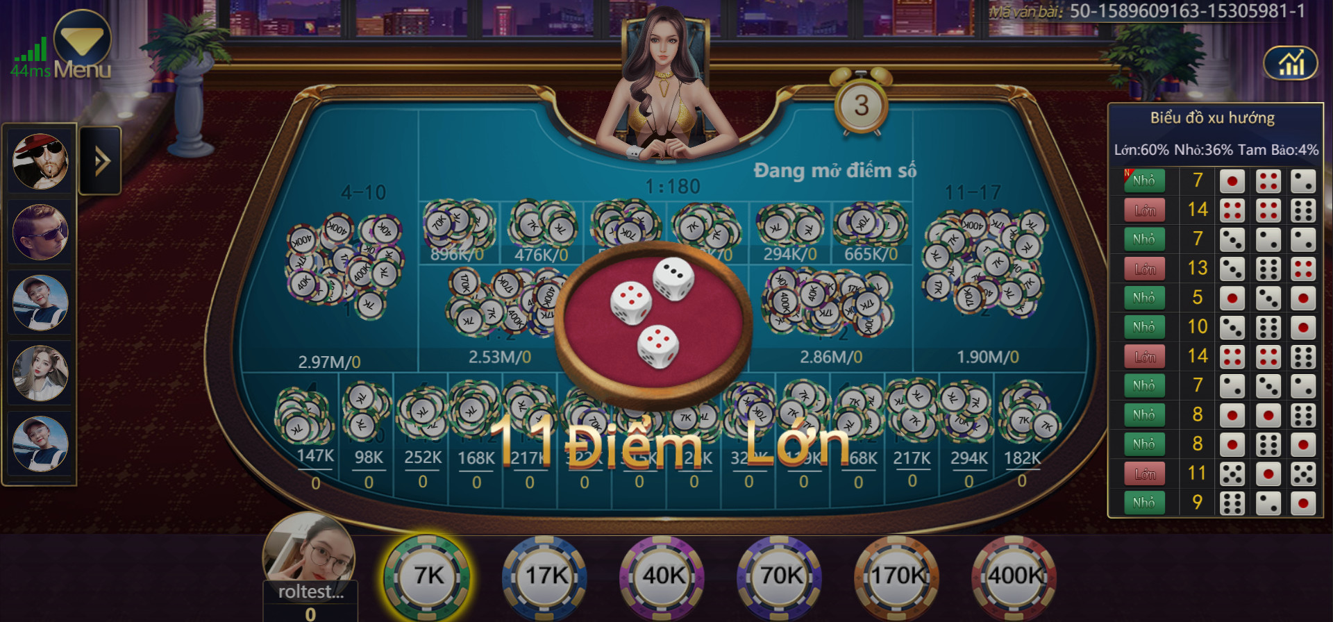 Giao diện game Sicbo tại nhà cái 7ballBET