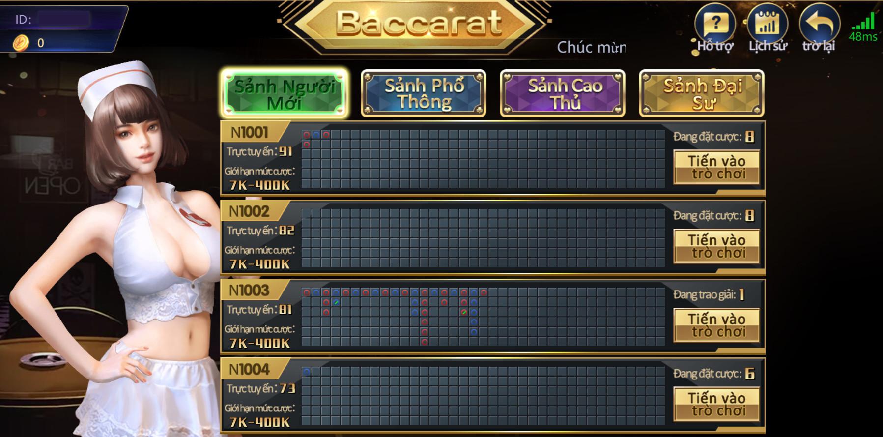 Giao diện sảnh Baccarat tại nhà cái 7ball